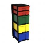 Schubladen-Container mit 2 flachen und 3 hohen Schüben, fahrbar, 86x30x39 cm HxBxT