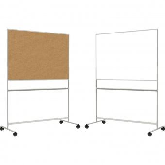 Fahrbare Tafel, Vorderseite Stahlemaille weiß - Rückseite Kork, 100x150x67 cm HxBxT
