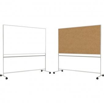 Fahrbare Tafel, Vorderseite Stahlemaille weiß - Rückseite Kork, 100x200x67 cm HxBxT