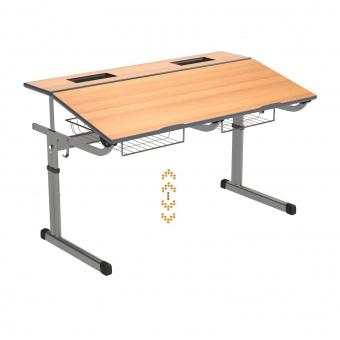 Schülertisch-2 Plätze, Aluflex, höhenverstellbar, mit neigbarer Tischplatte, PU-Kante, 130x60 cm BxT