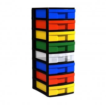 Schubladen-Container mit 8 flachen Schüben, 82x30x39 cm HxBxT