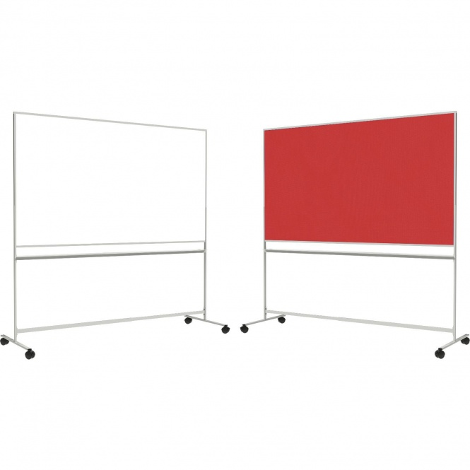 Tafel fahrbar, 200x100 cm, 1 Seite weiß, 1 Seite Stoff